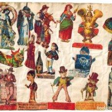 Cajas de Cerillas: LÁMINA CAJAS DE CERILLAS COSTUMBRES / PERSONAJES / REFRANES / HUMOR SIGLO XIX. Lote 193027128