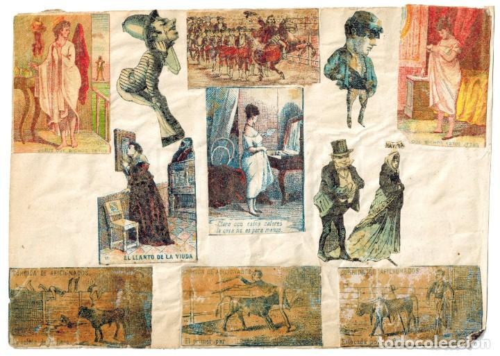 LÁMINA CAJAS DE CERILLAS COSTUMBRES / PERSONAJES / REFRANES / HUMOR SIGLO XIX (Coleccionismo - Objetos para Fumar - Cajas de Cerillas)