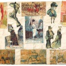 Cajas de Cerillas: LÁMINA CAJAS DE CERILLAS COSTUMBRES / PERSONAJES / REFRANES / HUMOR SIGLO XIX. Lote 193029022