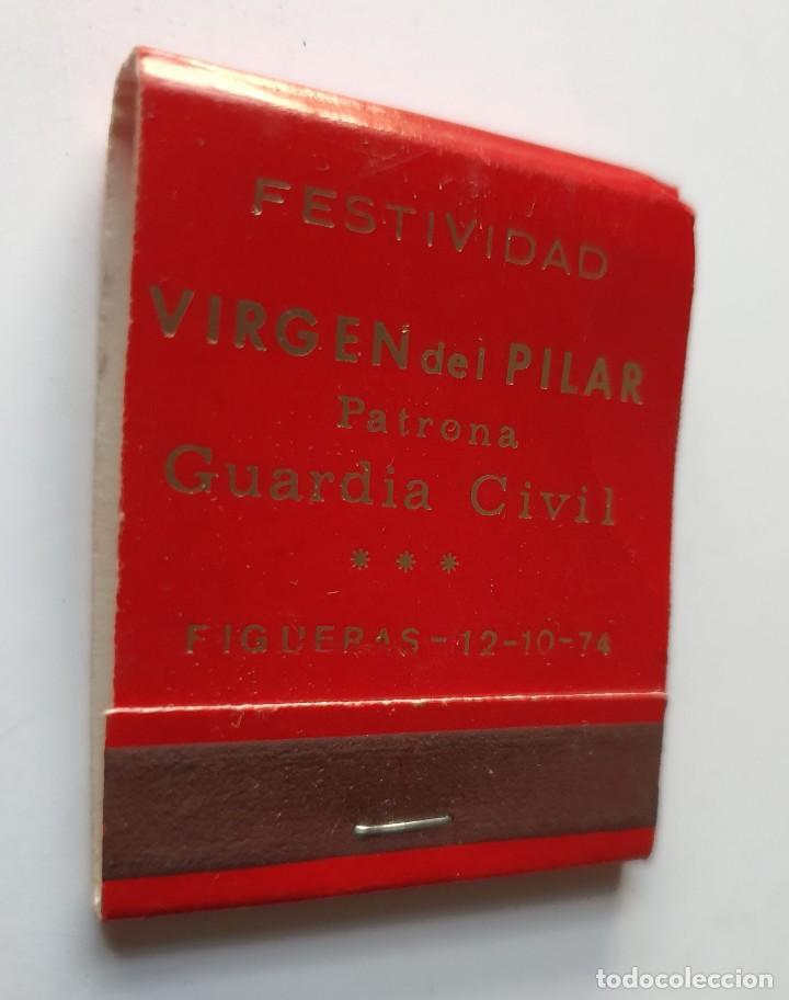 VIRGEN DEL PILAR PATRONA GUARDIA CIVIL *** FIGUERAS AÑO 1974 (Coleccionismo - Objetos para Fumar - Cajas de Cerillas)