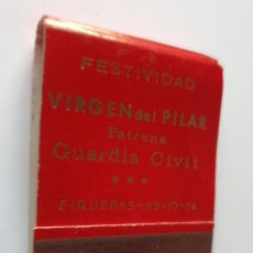Cajas de Cerillas: VIRGEN DEL PILAR PATRONA GUARDIA CIVIL *** FIGUERAS AÑO 1974. Lote 194228586