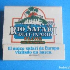 Cajas de Cerillas: RIO SAFARI,DELFINARIO ANTIGUA CAJA CERILLAS,EN PERFECTO ESTADO. Lote 194316035