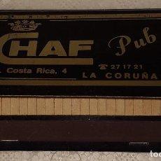Cajas de Cerillas: CAJA DE CERILLAS COMPLETA CHAF PUB LA CORUÑA LA CORUÑA. Lote 194584335