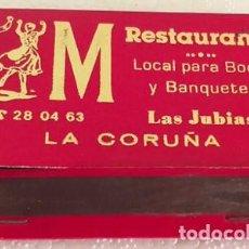 Cajas de Cerillas: CAJA DE CERILLAS M RESTAURANTE LA CORUÑA INCOMPLETA. Lote 194587043