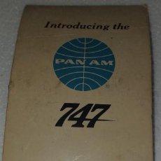 Cajas de Cerillas: ANTIGUA CAJA DE CERILLAS LINEAS AEREAS PAN AM INTRODUCING BOEING 747 AVIONES. Lote 194601041