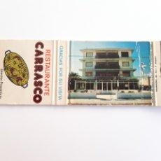 Cajas de Cerillas: CARTERITA CERILLAS - RESTAURANTE CARRASCO - FRANCISCO DEVESA (PLAYA ARENAL - JAVEA). Lote 194986671