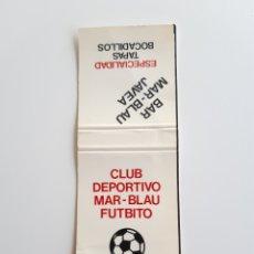 Cajas de Cerillas: CARTERITA CERILLAS - CLUB DEPORTIVO MAR BLSU FUTBITO - BAR MAR BLAU ( JAVEA). Lote 194986768