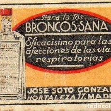 Cajas de Cerillas: BRONCOSANA CROMO PUBLICITARIO DE CAJA DE CERILLAS.AÑOS 20. Lote 195009108