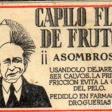Cajas de Cerillas: CAPILO FLOR DE FRUTAS CROMO PUBLICITARIO DE CAJA DE CERILLAS.AÑOS 20. Lote 195009130
