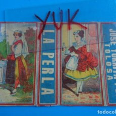 Cajas de Cerillas: COMPLETO ENVOLTORIO DE CAJA CERILLAS - JOSE YURRITA - TOLOSA - LA PERLA - SIGLO XIX - SOBRE 1875. Lote 195197577