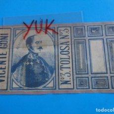 Cajas de Cerillas: COMPLETO ENVOLTORIO DE CAJA CERILLAS - VICENTE GOÑI -TOLOSA - LA ESTRELLA DEL NORTE - SOBRE 1870 XIX. Lote 195197868