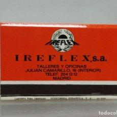 Cajas de Cerillas: CAJA CERILLAS MADRID IREFLEX RECAMBIOS PARA COCHES . Lote 195251293