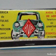 Cajas de Cerillas: CAJA CERILLAS VIZCAYA TVA RECAMBIOS PARA COCHES . Lote 195251330