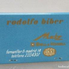 Cajas de Cerillas: CAJA CERILLAS MADRID RODOLFO BIBER METZ RECAMBIOS PARA COCHES . Lote 195251368