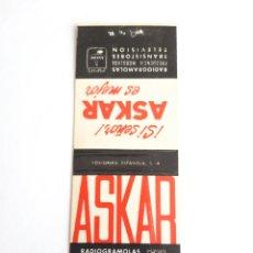 Cajas de Cerillas: CARTERITA CERILLAS - RADIO CINEMA JIMÉNEZ (MADRID) - ASKAR. Lote 199210730