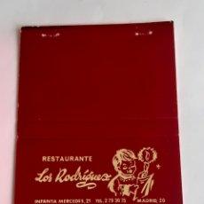 Cajas de Cerillas: CARTERITA CERILLAS - RESTAURANTE LOS RODRÍGUEZ ( MADRID ). Lote 199215308