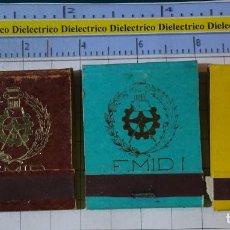 Cajas de Cerillas: 3 CAJAS CAJETILLAS DE CERILLAS. E.M.I.D. ESCUELA ARQUITECTURA? TOPOGRAFÍA?. Lote 199685965