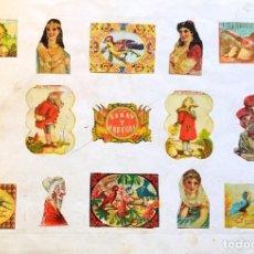 Cajas de Cerillas: 2 LÁMINAS DE CERILLAS Y CROMOS. S. XIX. Lote 202280066