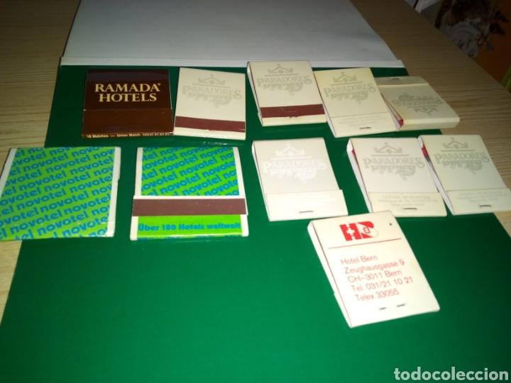 LOTE DE 11 CAJAS DE CERILLAS COMPLETAS HOTELES Y PARADORES (Coleccionismo - Objetos para Fumar - Cajas de Cerillas)
