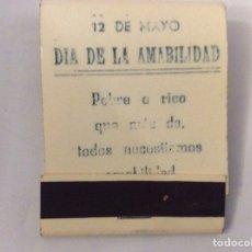 Cajas de Cerillas: CAJETILLA DE CERILLAS O FÓSFOROS 12 MAYO DÍA DE LA AMISTAD PROPAGANDA BAR DE ANDÚJAR EN EL INTERIOR. Lote 205326213