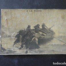 Cajas de Cerillas: A LA PESCA CROMO ENVUELTA CAJA DE CERILLAS SIGLO XIX. Lote 205344683