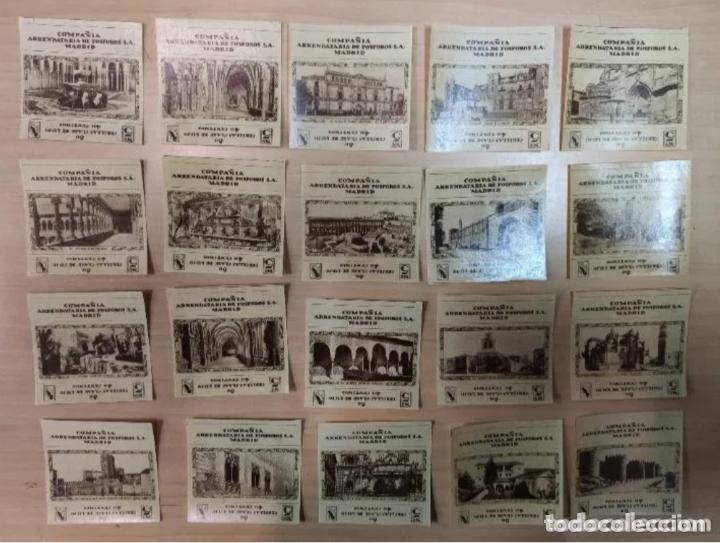 Cajas de Cerillas: 20 ETIQUETAS FÓSFOROS-CERILLAS, MONUMENTOS ESPAÑA, COMPAÑIA ARRENDATARIA FÓSFOROS S.A. - Foto 2 - 205541371