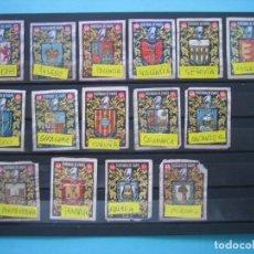 Cajas de Cerillas: LOTE - 15 ETIQUETAS DE CERILLAS MUY ANTIGUAS Y TODAS DISTINTAS - ESCUDOS DE PROVINCIAS ESPAÑOLAS. Lote 205825126