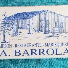 Cajas de Cerillas: ANTIGUA CAJA DE CERILLAS RESTAURANTE MARISQUERIA A.BARROLA.SANTIAGO DE COMPOSTELA.GALICIA.AÑOS 90. Lote 206892617