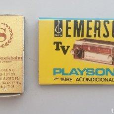 Cajas de Cerillas: LOTE 2 CAJAS ANTIGUAS DE CERILLAS EMERSON TV Y SHERATHON HOTELS STOCKHOLM. Lote 207718042