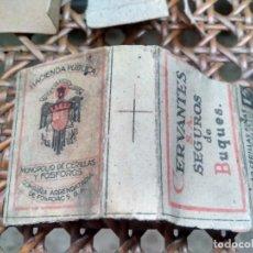 Cajas de Cerillas: ANTIGUA CAJA DE CERILLAS - COMPAÑÍA ARRENDATARIA DE FÓSFOROS - CERVANTES SEGUROS DE BUQUES. Lote 209247442