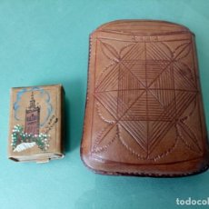 Cajas de Cerillas: PETACA Y CAJA DE CERILLAS EN CUERO. Lote 211718224