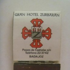 Cajas de Cerillas: CAJA DE CERILLAS PUBLICITARIA DEL GRAN HOTEL ZURBARAN DE BADAJOZ. Lote 212096102