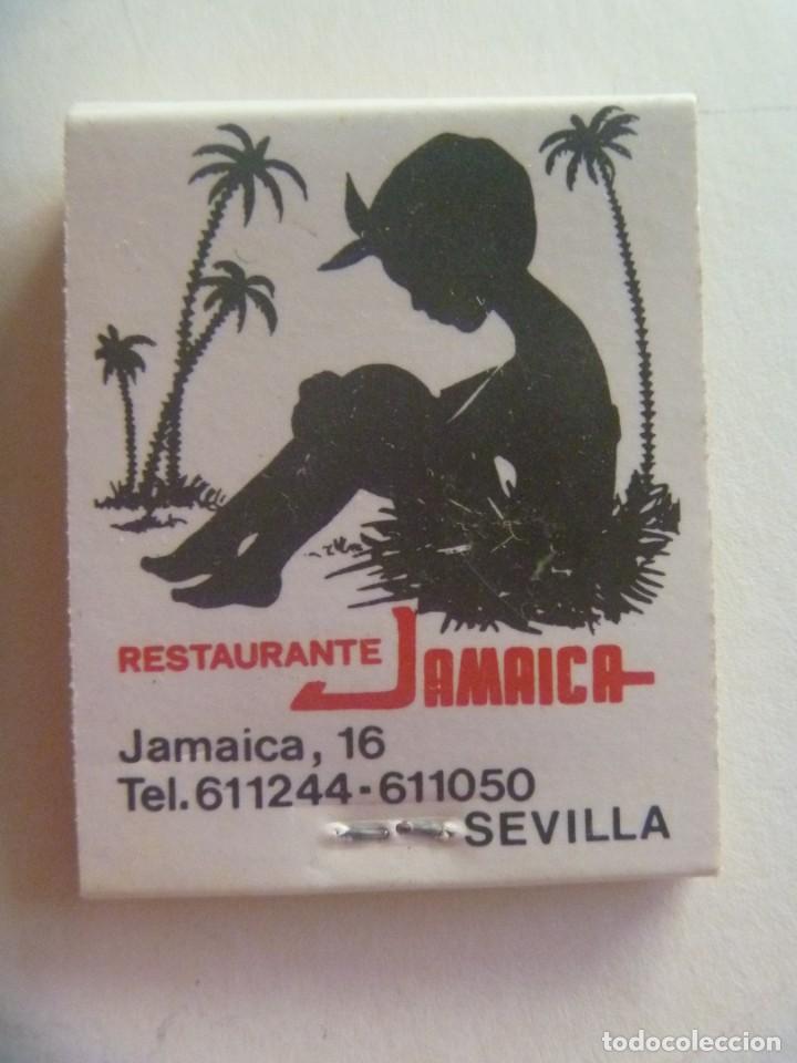 CAJA DE CERILLAS PUBLICITARIA DEL RESTAURANTE JAMAICA , SEVILLA . SIN USAR (Coleccionismo - Objetos para Fumar - Cajas de Cerillas)