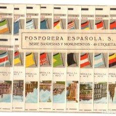 Cajas de Cerillas: FOSFORERA ESPAÑOLA. SERIE BANDERAS Y MONUMENTOS. COMPLETA. 40 CAJAS DE CERILLAS. Lote 218484831