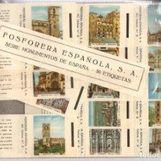Cajas de Cerillas: FOSFORERA ESPAÑOLA. SERIE MONUMENTOS DE ESPAÑA. COMPLETA. 30 CAJAS DE CERILLAS. Lote 218485163