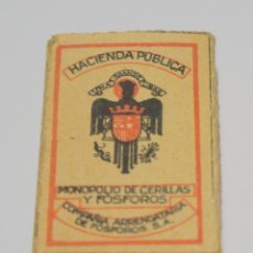 Cajas de Cerillas: MUY ANTIGUA CAJA DE CERILLAS HACIENDA PUBLICA MONOPOLIO DE CERILLAS Y FOSFOROS FINAS Nº1. Lote 221964321