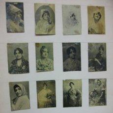 Cajas de Cerillas: SIGLO XIX 2 HOJAS CON 32 FOTOTIPIAS DE CAJAS DE CERILLAS DE FLAMENCO BAILE ANDALUCIA. Lote 225110242