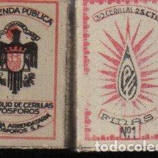 Cajas de Cerillas: ANTIGUA CAJA DE CERILLAS, FRANQUISTA, ORIGINAL, GUERRA CIVIL?. HACIENDA PÚBLICA. Lote 269833783