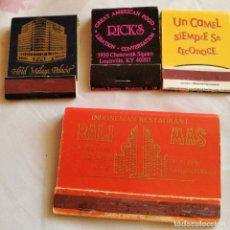 Cajas de Cerillas: LOTE DE 4 CAJETILLAS CARTERITAS PUBLICITARIAS DE CERILLAS. Lote 231830950