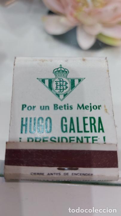 CAJA DE CERILLAS DEL BETIS CF PARA LAS ELECCIONES DE PRESIDENTE DEL CLUB -HUGO GALERA- (Coleccionismo - Objetos para Fumar - Cajas de Cerillas)