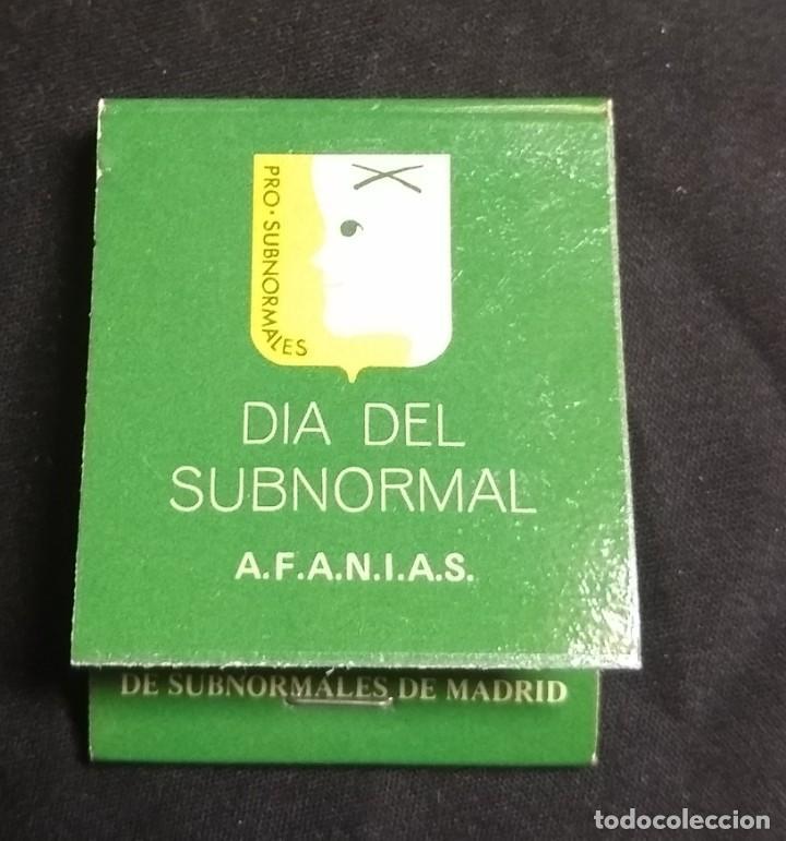 CERILLAS - ANTIGUA CARPETITA * DÍA DEL SUBNORMAL* (Coleccionismo - Objetos para Fumar - Cajas de Cerillas)