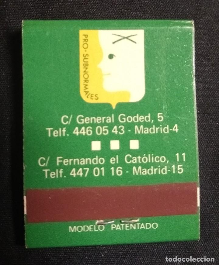 Cajas de Cerillas: CERILLAS - ANTIGUA CARPETITA * DÍA DEL SUBNORMAL* - Foto 3 - 245360420