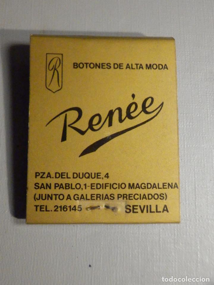 CARTERITA CERILLAS - 20 FÓSFOROS - BOTONES DE ALTA MODA RENEÉ - SEVILLA - COMPLETA (Coleccionismo - Objetos para Fumar - Cajas de Cerillas)