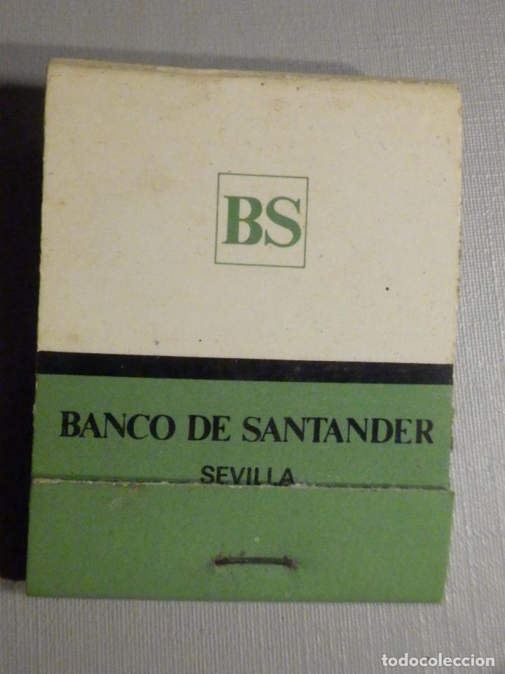 CARTERITA CERILLAS - 20 FÓSFOROS - BANCO DE SANTANDER - SEVILLA - COMPLETA (Coleccionismo - Objetos para Fumar - Cajas de Cerillas)