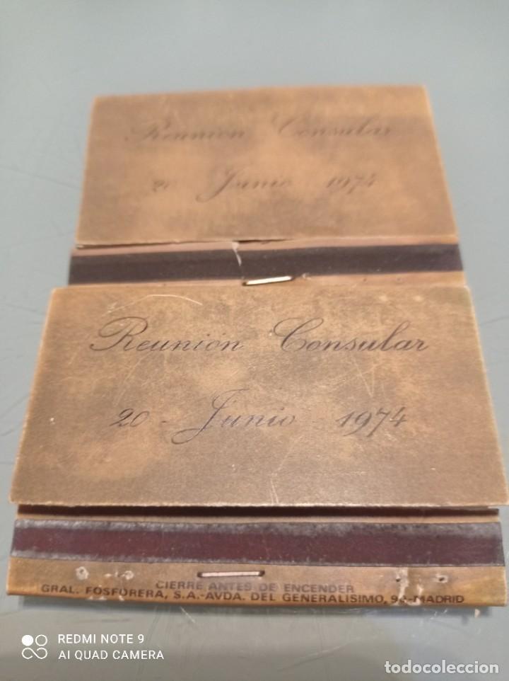 Cajas de Cerillas: Dos Antiguas Cajas cerllas 20 Junio 1974 REUNION CONSULAR - Foto 2 - 253568000
