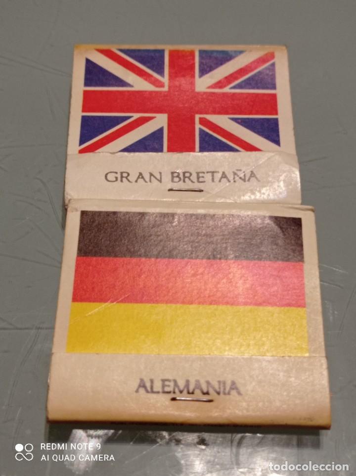 DOS ANTIGUAS CAJAS CERILLAS BANDERAS ALEMANIA, GRAN BRETAÑA (Coleccionismo - Objetos para Fumar - Cajas de Cerillas)
