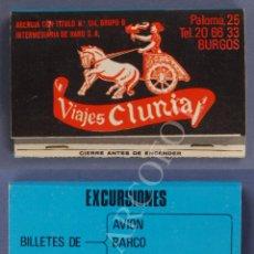 Cajas de Cerillas: ANTIGUA CAJA DE CERILLAS VIAJES CLUNIA - BURGOS. Lote 254075510