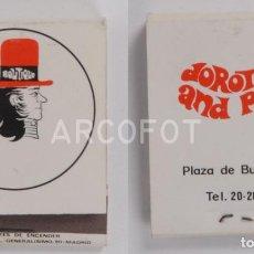 Cajas de Cerillas: ANTIGUA CAJA DE CERILLAS DOROTHY AND PETER - BURGOS. Lote 254641390