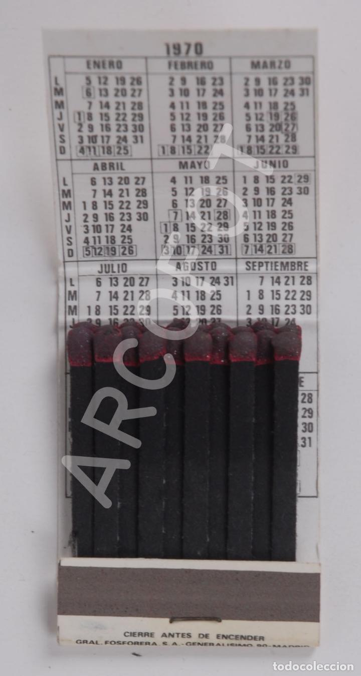 Cajas de Cerillas: Antigua Caja de Cerillas RESTAURANTE TIPICO MESON DEL CID - BURGOS - CALENDARIO 1970 - Foto 2 - 254645090
