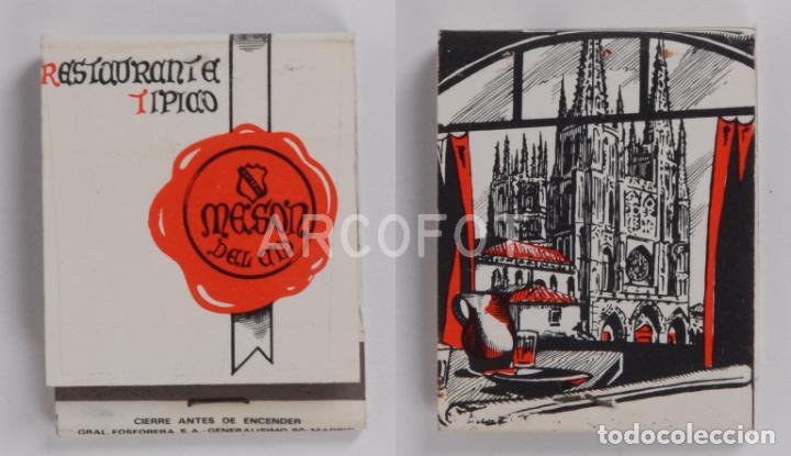 ANTIGUA CAJA DE CERILLAS RESTAURANTE TIPICO MESON DEL CID - BURGOS - CALENDARIO 1970 (Coleccionismo - Objetos para Fumar - Cajas de Cerillas)